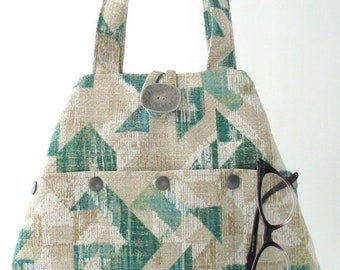 large purse, tote handbag, fabric handbag, shoulder bag, green tote bag, hobo bag, purse with pockets, green purse