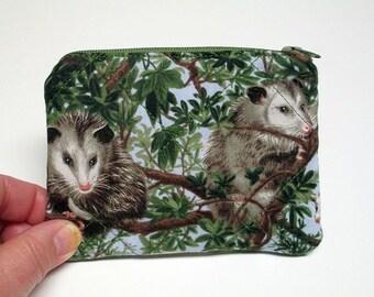 Possum coin purse, Possum change purse, Zippered pouch, Quilted coin purse