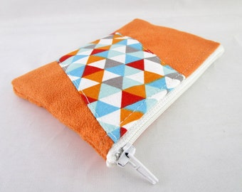 Wallet in orange suede and fabric triangle