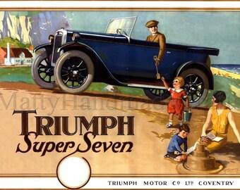Triumph Car, Triumph Super Seven, Classic Triumph, 1930s Print