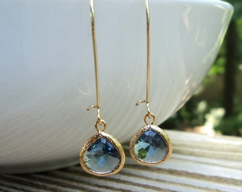 Sapphire blue SMALL tear shape glass dangles on gold kidney wire earrings. Everyday. Bridal.