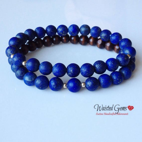 Men's 14k 8mm Matte Blue Lapis and Wood Bracelet Set, Men Bracelets, Gifts for him, Fathers Day Gifts, Gift Ideas  zmw04402.1