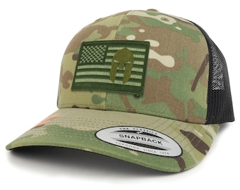 Olive usa Flag Spartan Patch Camouflage Structured Trucker Mesh Baseball Cap (FLEX-6606MC-USA-FLAG-18)