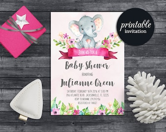 Elephant baby shower invitation Girl baby shower invitation