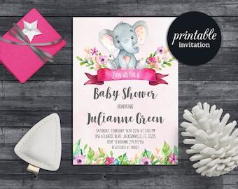 Elephant Baby Shower Invitation Girl Floral Baby Shower Invitation Pink  Jungle Baby Shower Invitation Safari Baby Shower Invitation Digital