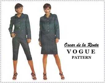 Oscar de la Renta Sewing Pattern - Vogue 2518 Sewing Pattern - Misses Jacket, Skirt, Pants - Size 18 20 22, Bust 40 42 44 - UNCUT - Designer