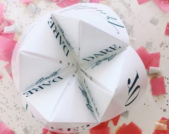 Truth or Dare Party Game - Cootie Catcher/Fortune Teller  - Birthday Party Favor - Bachelorette Game - Place Setting