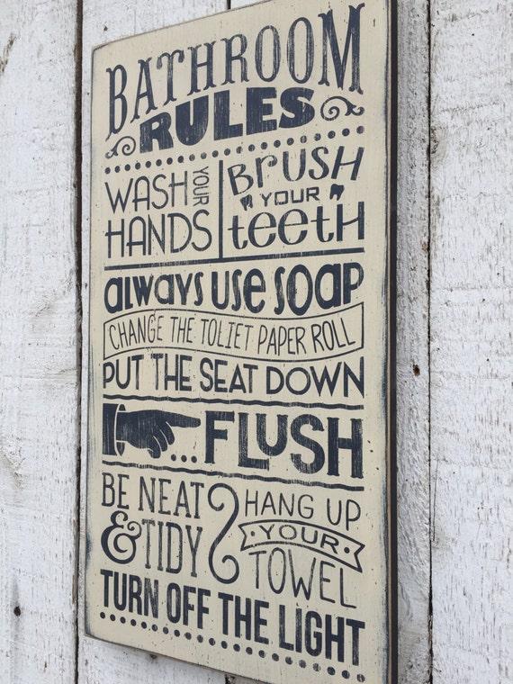 amusing bathroom wall design wood | Bathroom Rules distressed rustic hand painted wood sign