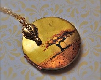 Hot Air Balloon Locket Autumn Tree Sunset Sky Orange Gold Leaf Leaves Art Jewellery Charm Necklace Authentic Vintage Locket Handmade