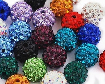 12pc mix color 10mm Rhinestone Crystal Clay Pave Disco Beads- AAA QUALITY-7705