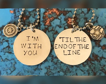 Captain America Bucky I'm with you 'til the end of the line necklace set