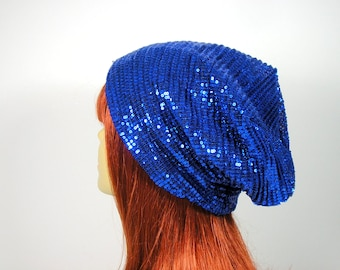 FREE SHIPPING Custom Size Slouchy Hat Electric Blue Sequined Slouchy Hat Trendy Slouch Hat for Hair Loss Chemo Caps Royal Blue Sequined Hat