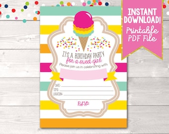 Ice Cream Birthday Party Invitation for Girls with Colorful Stripes Instant Download Printable PDF Digital File