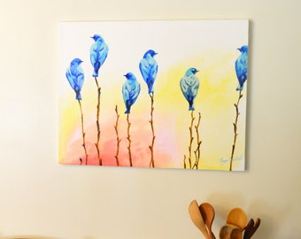 Blue Birds Original Painting, gouache watercolor, large art on canvas, 22 x 28