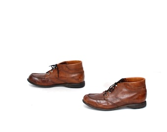 size 8.5 RED WING brown leather 60s 70s BROGUE lace up ankle boots