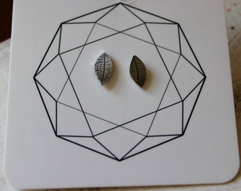 Silver Skeleton Leaf Studs