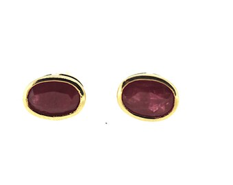 9ct Ruby Stud Earrings / Natural Oval Ruby Earrings / Ruby Stud Earrings / Vintage Ruby Earrings / Gold Ruby Studs / Ruby Earrings / Red