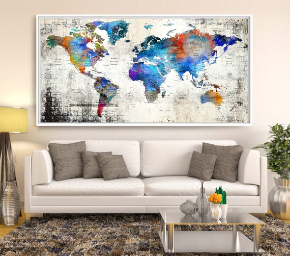 Sale push pin travel map world travels map map art world like this item gumiabroncs Image collections