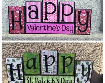 Valentine's Day blocks - reversible black