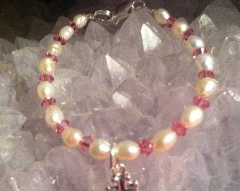 Newborn/Girl's Pearl, Crystal, Sterling Silver Bracelet