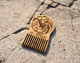 Wooden Beard Comb Game of Thrones Targaryen Fire and Blood Wooden Mustache Comb For Him Fathers Day Men Gift for Him Husband Friend Gift