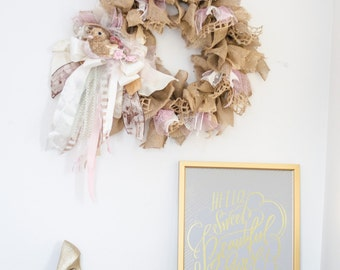 Spring Wreath Burlap Wreath With Bird Accent Pink and Cream Wreath Front Door Decor Girly Wreath Bridal Shower Baby Girl Shower Decoration