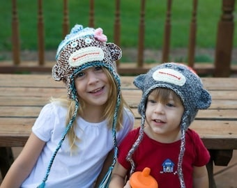 Girls Sock Monkey Hats for Infants to Adults and Matching Baby Booties Crochet Pattern  PDF 409