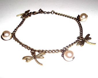 btacelet bronze and bead Dragonfly Pearl collection