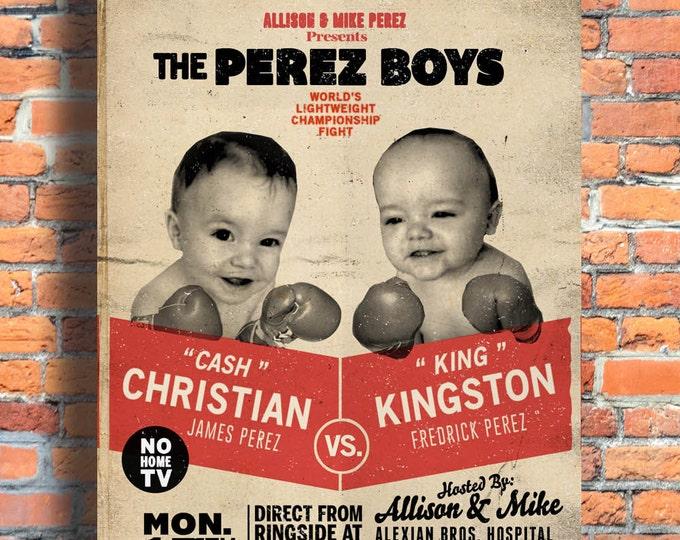 twins, twin birth announcement, twin birthday invitation, boy twins, retro,boxing, baby announcement, invitation, birthday
