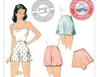 E-Pattern- 1940s Panties & Bloomers- Wearing History PDF Vintage Sewing Pattern