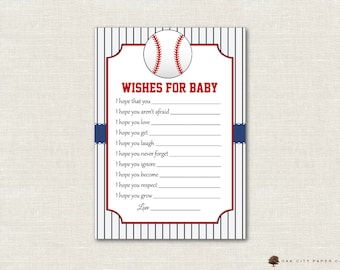 Baseball Wishes for Baby - Wishes for Baby Card, Well Wishes for Baby, Baseball Baby Wishes, Sports, Baby Shower Wishes for Baby - DIY