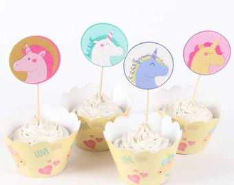 24 pc. Rainbow Unicorn Cupcake Toppers 12 & Wrappers 12 ~ Birthday Cake Decorations Party Supplies