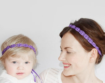 Mother Daughter Matching Headbands, Purple Wedding Headbands for Bride and Maid of Honor, Mommy and Me Matching Set of Headbands Purple