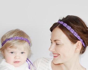 Mère fille correspondant bandeaux, bandeaux violet mariage pour la mariée et demoiselle d'honneur, maman et moi ensemble de bandeaux violet assorti