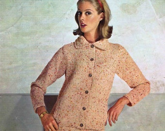 Lady's Jacket and Skirt Suit - Size 86 to 97 cm (34 to 38 inch) - Patons Bracken DK 9410 - Vintage Knitting Pattern