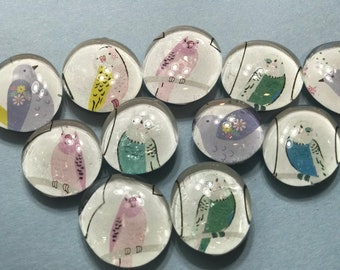 Beautiful bird glass gem magnets