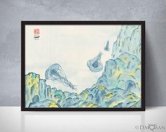 Jellyfish 2 - sumi-e watercolor painting - 5x7 (Print)