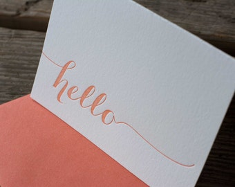 hello letterpress cards, in papaya, pink or black letterpress printed card. Eco friendly