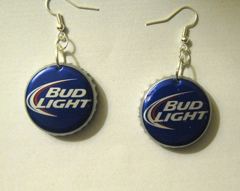 Recycled Beer Bottle Cap Earrings Budweiser Bud Light