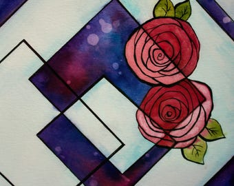 Geometric Floral II - watercolor and ink painting