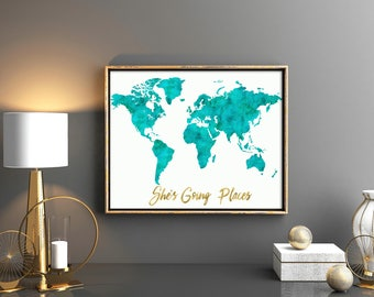 Turquoise world map etsy turquoise girls room decor watercolor turquoise world map with gold quote shes going places baby girl gumiabroncs Images