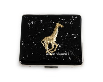 Large 8 Day Pill Box Giraffe Case with Mirror Safari Inspired Inlaid in Hand Painted Black Enamel with Silver Splash Personalized Option