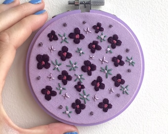 "Purple Flowers 4"" Embroidered Hoop 