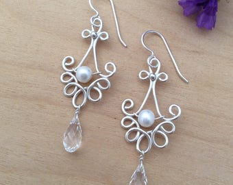 Sterling Silver Pearl and Crystal Earrings, Bridal Earrings, Wedding Jewelry