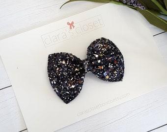 Black Glitter bow, New Years Eve Bow, Black and Silver Bow, Black Sparkle Bow, Glitter Headband, Baby bow Headband, Glitter Hair Clip