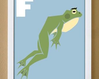 alphabet letter F, frog, custom colors, children's letter art, letter print, nursery art, kids initials, 4X6, 5X7, 8X10