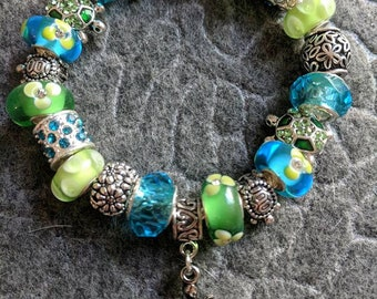 Turquoise And Lime Green Turtle European Charm Bracelet