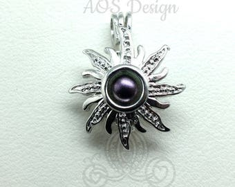 Sun Pick A Pearl Cage Necklace Silver Rapunzel Tangled Sun Charm Holds Pearl Bead Gem Silver Locket Solar Eclipse 2017