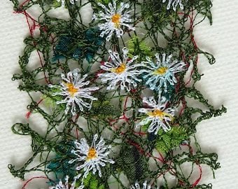 Daisies embroidered bookmark, textile art, free machine embroidery