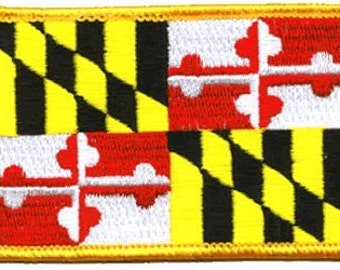 """The MARYLAND PATCH, Superior Quality Iron-On / Saw-On Embroidered Patch - 3.5"""" x 2.25"""" - Made in the USA"""